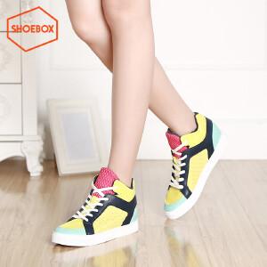SHOEBOX/鞋柜新款内增高拼色高帮女鞋 圆头绑带女单鞋