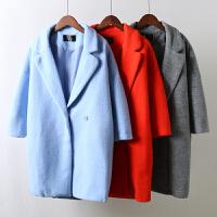 H8秋冬新款韩版女装毛呢外套修身显瘦大码中长款茧型呢子大衣1.26