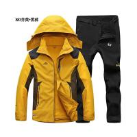 冬季户外冲锋衣男三合一羊羔绒加厚内胆可拆卸两件套保暖登山套装 X