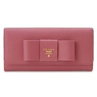 【网易考拉】PRADA 普拉达 Saffiano系列 丝带蝴蝶结 女士按钮开合长款钱包