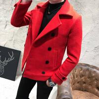 冬季毛呢大衣男短款青年韩版修身风衣韩国羊毛妮子大衣外套加厚潮 红色 M(80-100斤)