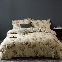 家纺美式抽象格子秋冬加厚纯棉21支全棉活性生态磨毛床单被套四件套