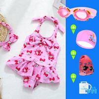 儿童游泳衣女孩女童中小童泳衣连体裙式宝宝婴幼儿可爱公正泳装女 套装