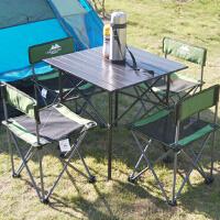 户外简易折叠五件套便携式携带椅自驾游靠背凳子野营桌椅套装 军绿色网纱铝桌五件套