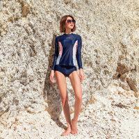 泳衣女分体式沙滩长袖防晒长裤运动新款元气少女游泳衣