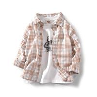 童装2020春季男童衬衫长袖纯棉中大童格子衬衣儿童上衣