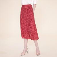 红袖波点印花系带中腰A字半身裙