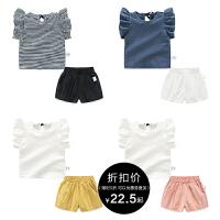 女童夏装短裤子套装婴儿短袖t恤上衣1岁3个月2宝宝