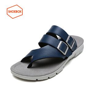 SHOEBOX/鞋柜夏季新款防滑凉拖鞋套趾沙滩鞋休闲男凉鞋