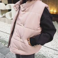 韩观秋冬女装韩版加厚夹棉背心马甲短款立领外套宽松无袖马夹棉衣SN560 均码