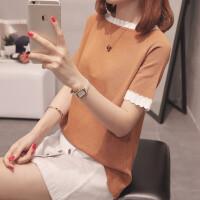 冰丝短袖针织T恤女夏季2018新款韩版修身体恤衫半袖百搭圆领上衣