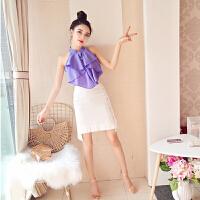 2018夏季时尚新款修身气质开衫无袖雪纺荷叶边上衣+高腰短裙套装 紫色