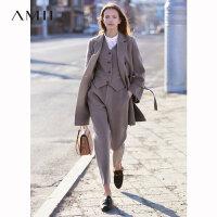 【到手价612元】Amii极简高端chic纯澳毛绵羊毛双面呢2019冬季新款双排扣复古外套