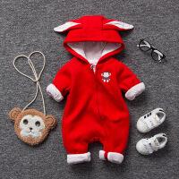 女婴儿连体衣服秋冬季0岁2个月男宝宝2冬装新生儿靓仔外出服衣服