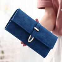 钱包 女 学生韩版女长款钱包磨砂拉链大容量学生韩版新款纯色女生包包