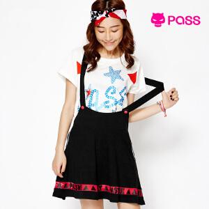 【不退不换】PASS秋装女装背带小黑半身裙学院风简约裙子女