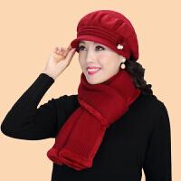 中老年人女冬天兔毛针织毛线帽冬天奶奶老人帽子妈妈帽围巾鸭舌帽