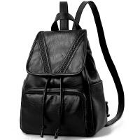 双肩包女韩版新款潮女士休闲百搭牛皮包包简约旅行背包女 2_黑色无拉链