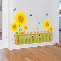 客厅墙壁上装饰幼儿园儿童房间卧室踢脚线墙纸贴画田园花卉墙贴
