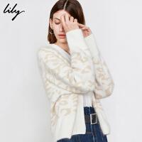 Lily2019秋新款女装洋气豹纹宽松插肩袖休闲V领毛针织开衫119419B3968