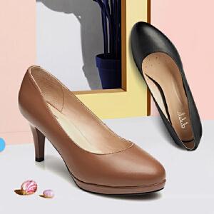 【双十一狂欢购 1件3折】Daphne/达芙妮女鞋 时尚秋季细高跟圆头单鞋子