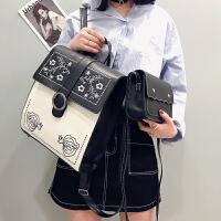 2018新款学院风刺绣双肩包女pu皮包多用中学生书包韩版小清新背包