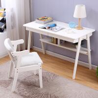 御目 儿童学习桌 家用橡胶木质北欧白色电脑桌子书写字台桌椅子组合套装办公桌儿童家具