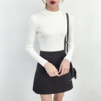 2018秋季新款半高领白色毛衣女士秋冬短款套头长袖上衣黑色修身紧身打底针织衫