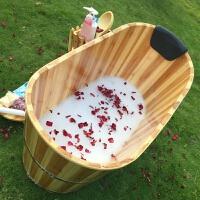 加厚美容院泡澡木桶沐浴桶实木质洗澡桶桑拿浴盆家用浴缸