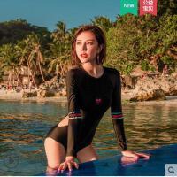 性感连体泳衣女遮肚显瘦韩国ins运动游泳衣长袖保守防晒学生泳装