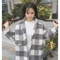 秋冬女装韩版复古翻领休闲格子风衣外套宽松短款学生加厚呢子大衣 均码