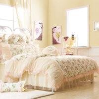 婚庆床套床裙四件套1.8m蕾丝床罩粉色公主风1.5结婚床上用品