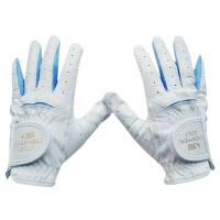 儿童高尔夫手套 男女童双手皮透气高尔夫球手套 白配蓝14码 S