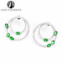 【茱蒂的花园】女神范华丽双圆圈圆形镶嵌绿锆钻石MONACO时尚风格APM耳环耳钉耳饰耳坠饰品首饰女款女式