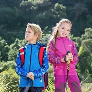 CAMKIDS垦牧男女童风衣外套 2018春季新款带帽柔软舒适防风保暖