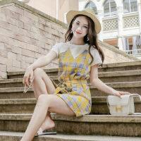 连衣裙拼接假两件格子裙 新款系带中长款短裙a字裙潮 支持礼品卡支付