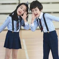 新款儿童演出服装六一合唱表演服男孩女孩礼服学生背带裤春夏