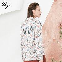 Lily春新款女装宽松系带显瘦衬衫字母印花衬衫女118130C4211