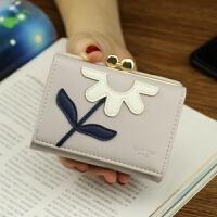 七夕礼物钱包女短款 学生 韩版 可爱小清新花朵零钱夹子 包包女2018新款