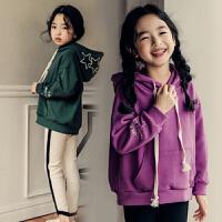 2018秋冬季童装韩版女童加绒连帽卫衣休闲加厚绒衫儿童棉上衣外套