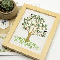 手工布艺DIY刺绣材料包新手艺术品装饰画风景樱桃树小幅简单