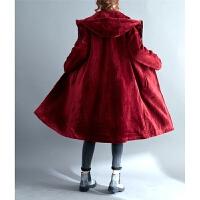 胖妹秋冬范宽松卫衣 百搭带帽毛绒重工长款风衣加肥外套160斤