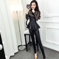 冬天套装女 两件套2017新款时尚韩版气质修身蕾丝PU上衣+小脚皮裤