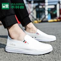 木林森男鞋2019年新款板鞋男套脚休闲鞋百搭学生懒人潮鞋小白鞋男