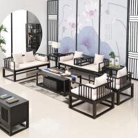 【品牌热卖】沙发 新中式实木沙发组合中国风白蜡木布艺沙发客厅整装家具禅意沙发 黑胡桃色 三人位(2000*780*69