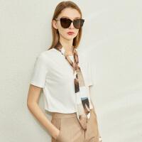 【到手价:70元】Amii极简时尚撞色丝巾领带短袖T恤2020春季新款宽松百搭上衣女