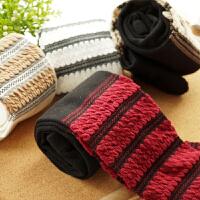 春秋新款棉质设计师款条纹堆堆袜连裤袜