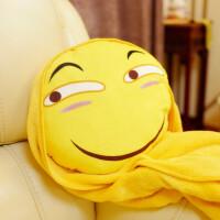 创意两用三合一毯子 滑稽脸表情包抱枕毛绒暖手抱枕插手捂被子