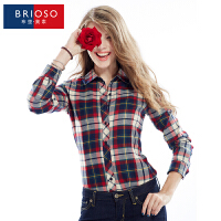BRIOSO 春装新款女式磨毛长袖格子衬衫 韩版时尚修身出街百搭女士衬衣 大码女装 衬衣 WEMM010