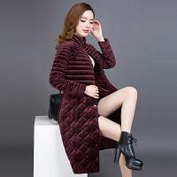 女士棉衣中长款冬装新款韩版金丝绒羽绒中年绒面棉袄外套